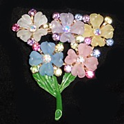Cellulose Plastic Rhinestone Pastel Flowers Brooch