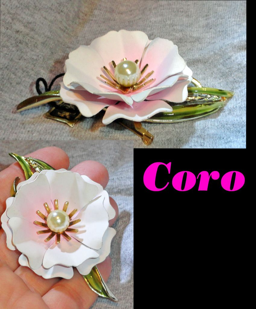 CORO Pink White Satin Enameled Flower Brooch with Faux Pearl and Tag