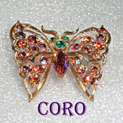 Coro Butterfly Brooch Aurora Borealis Rhinestone Brooch