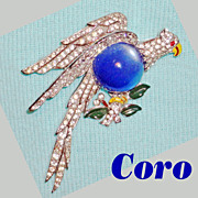 Rare Coro Rhinestone Lucite Belly Enamel Flying Eagle Holding Olive Branch Brooch C 1940's