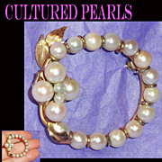 Cultured Pearl Hand Wired Wreath Brooch Heavy Gold Filled
