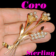Coro Sterling Silver Lily Spray Flower Brooch w Faux Pearls  C 1940's