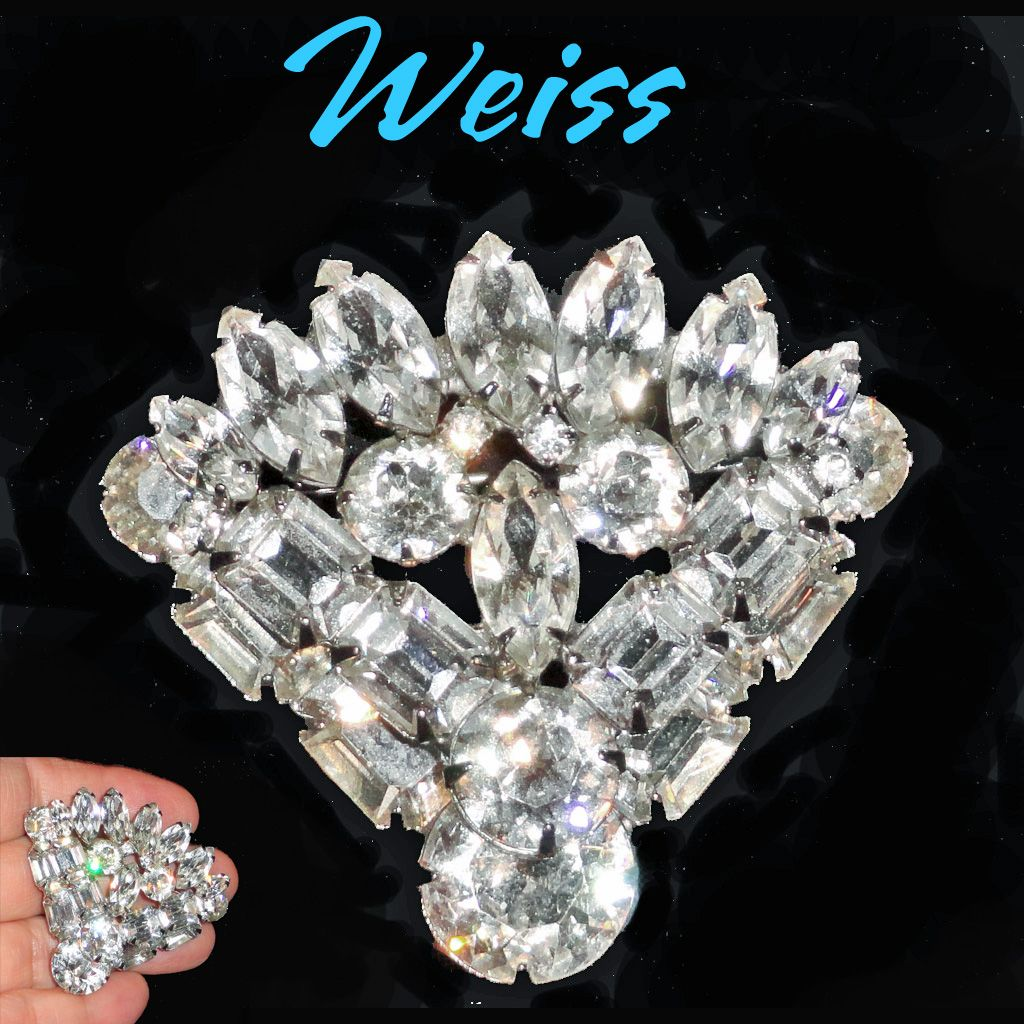 Weiss Clear Rhinestone Fan Stacked Brooch HUGE STONES