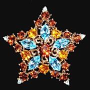 Graziano Rhinestone Star Brooch Multi Colored SOLD