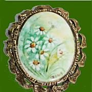 Hand Painted Porcelain Enamel Daisies Brooch Pendant Signed Doris