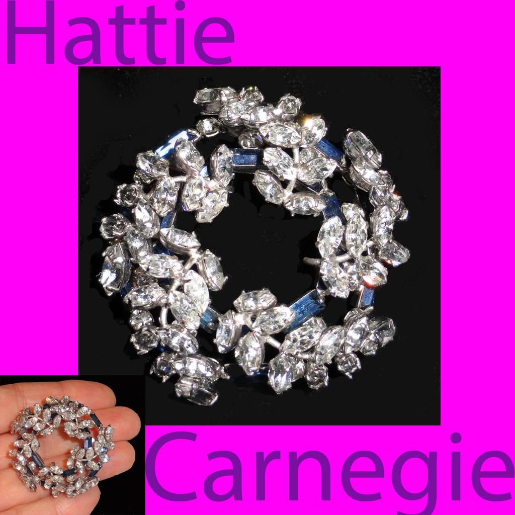 Hattie Carnegie Blue Baguette Crystal Rhinestone Circle Wreath Brooch