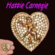Hattie Carnegie Figural Angel Rhinestone Heart Brooch