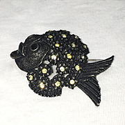 HAR Japanned Black Metal Rhinestone Fish Brooch