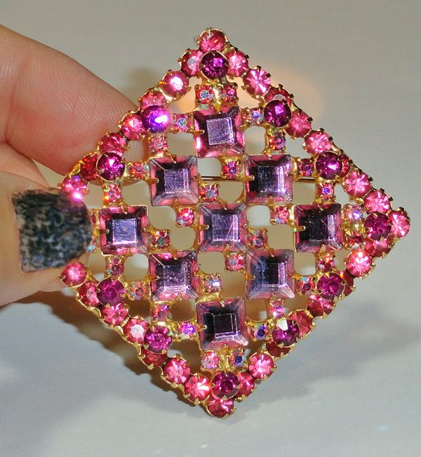Juliana Shades of Pink Rhinestone Diamond Shape Brooch  Book Piece