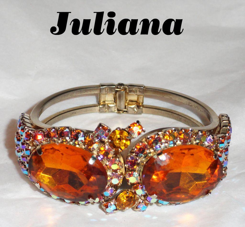 Juliana Topaz Aurora Borealis Rhinestone Clamper Bracelet