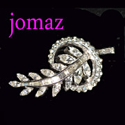 Jomaz Rhinestone Leaf in Crescent Wreath Brooch