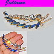 Juliana Montana Blue and Clear Rhinestone Split Leaf Brooch