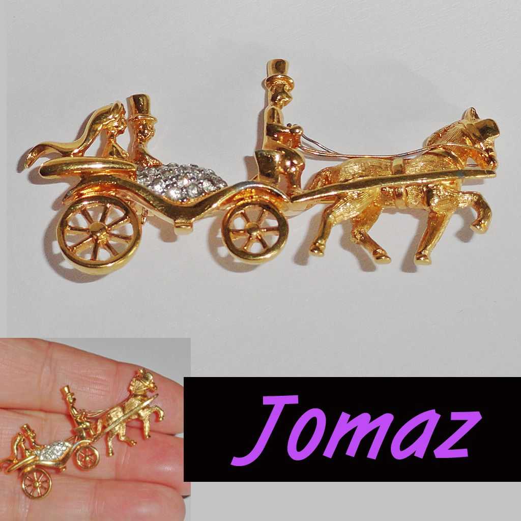 Jomaz Honeymooners Rhinestone Coach Carriage and Horse Brooch