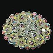 Yellow Jonquil Margarita Rhinestone Crystal Oval Brooch