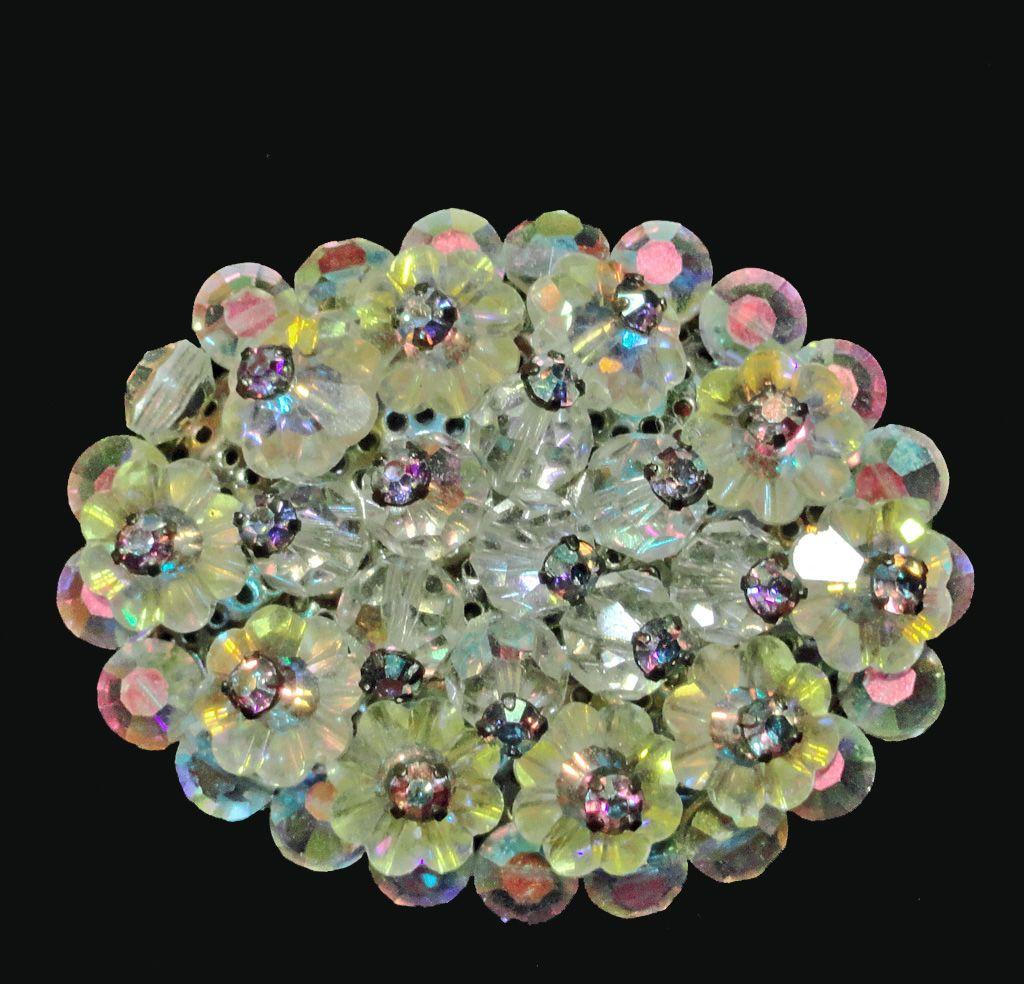 Yellow Jonquil Margarita Rhinestone Crystal Oval Brooch