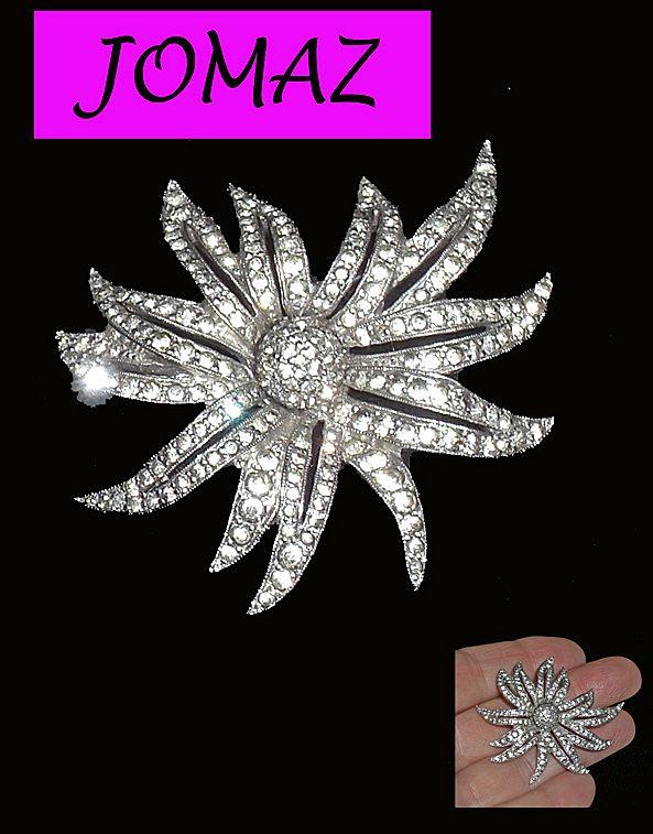 Vintage Jomaz Rhinestone Flower Brooch Large