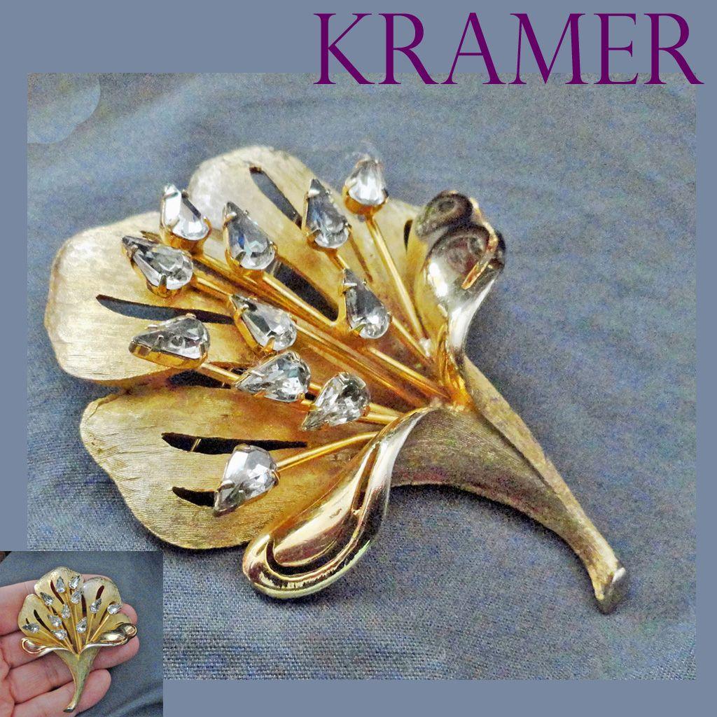 Kramer Rhinestone Flower Brooch Gold tone