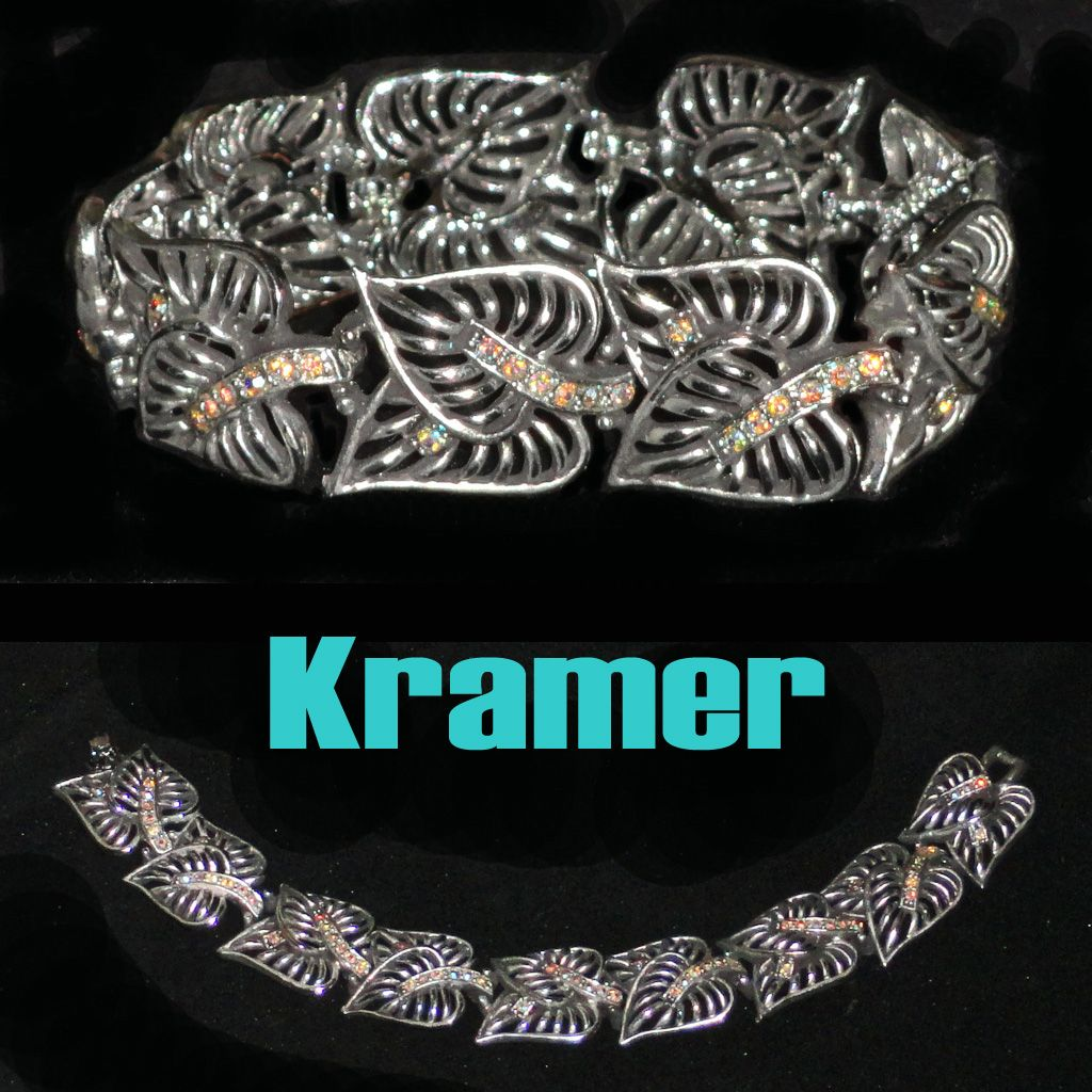 Kramer Openwork Heart Leaves with Rhinestone Stems Bracelet