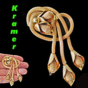 Kramer of New York Mesh Dangle Brooch Gold Tone