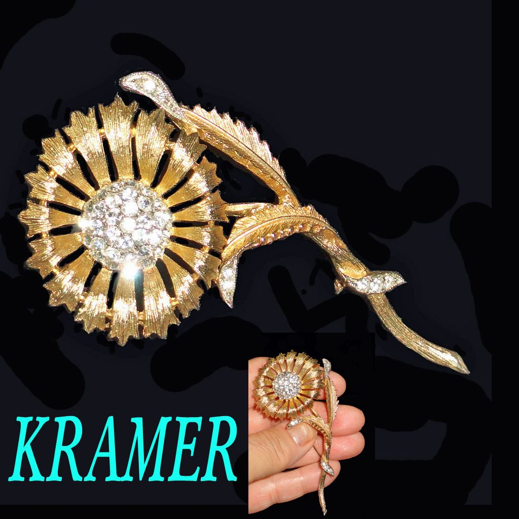 Kramer Sunflower Rhinestone Brooch