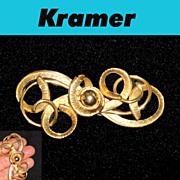 Kramer Textured Swirl Brooch Large Gold Plated