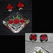 Lucite Brooch and Earrings  Red Flowers in Basket