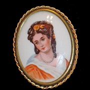 Limoges France Hand Painted Porcelain Portrait Brooch