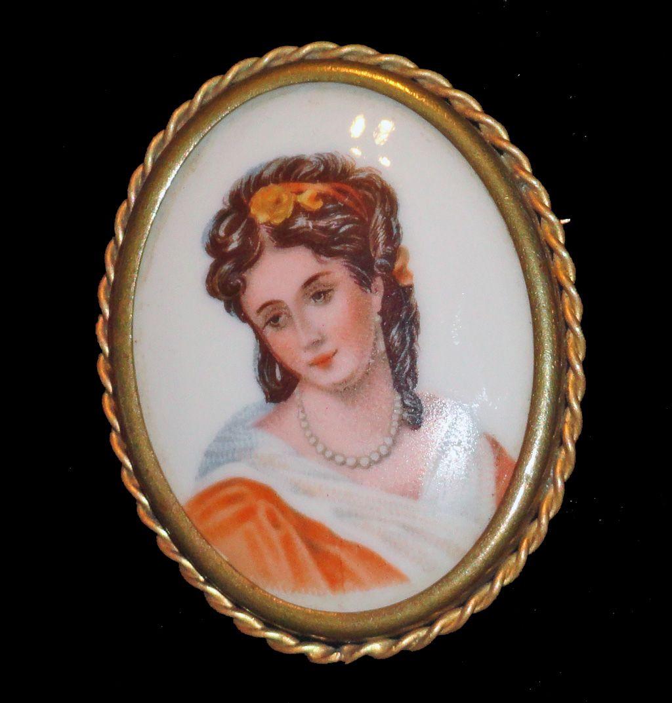 Limoges France Hand Painted Porcelain Portrait Brooch
