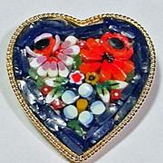 Micro Mosaic Heart Brooch Italy
