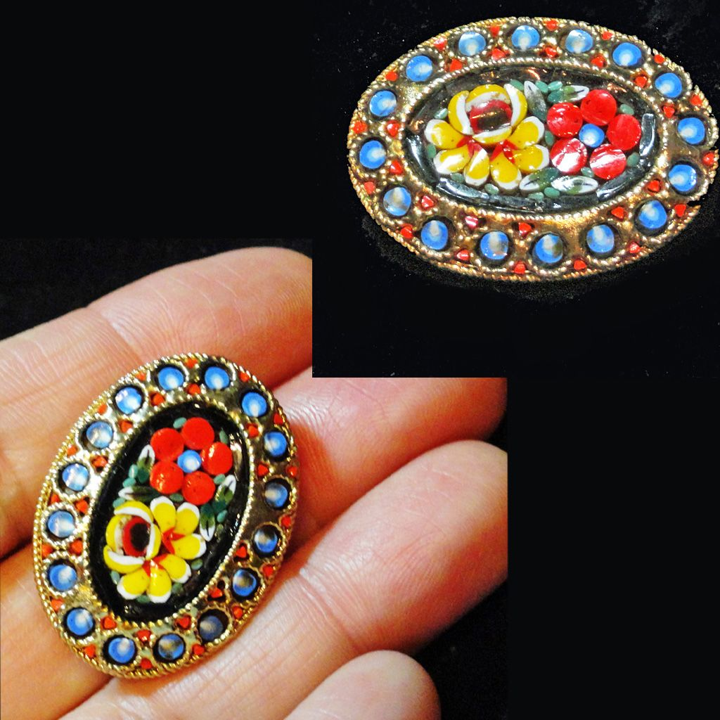 Micro Mosaic Oval Flower Blue Art Glass Brooch