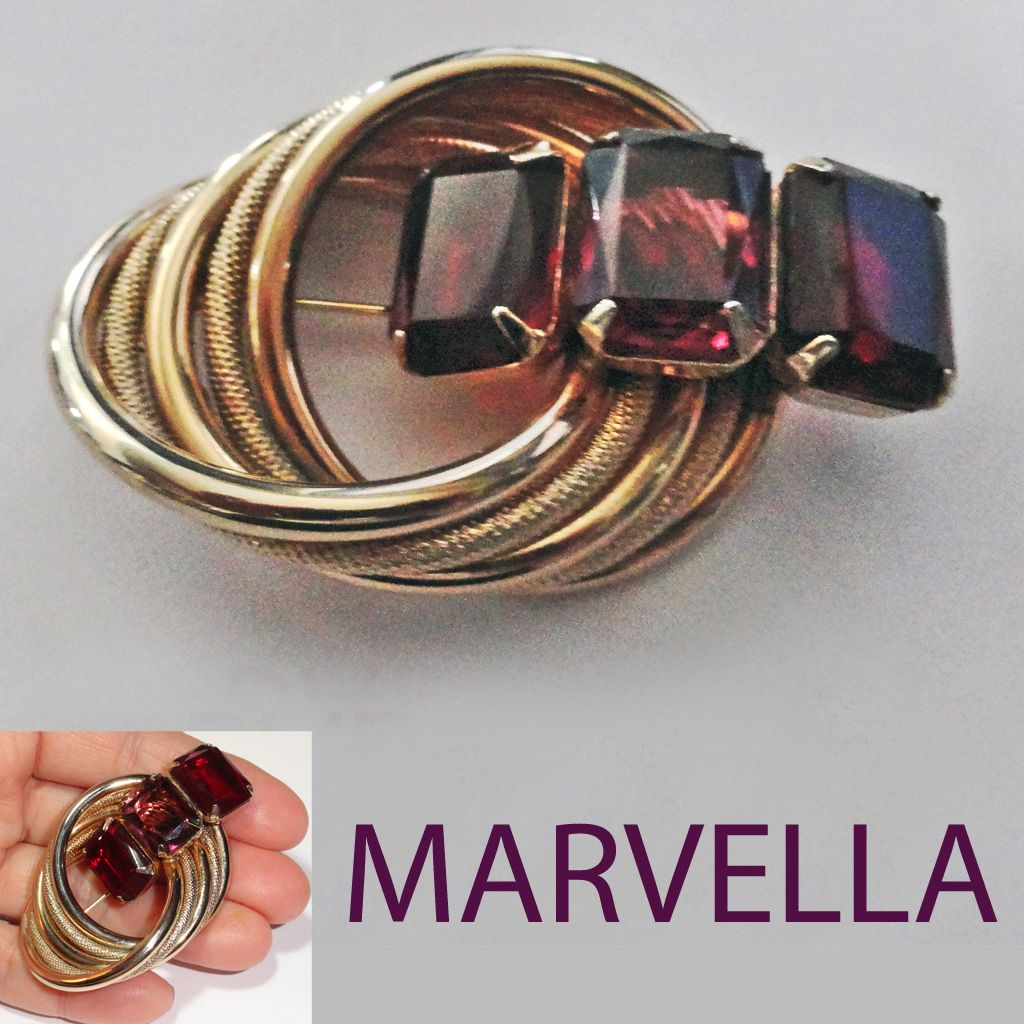 Marvella Ruby Red and Amethyst Glass Brooch Gold Plated