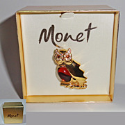 Monet Rhinestone Glass Jelly Belly Owl Brooch in Original Box