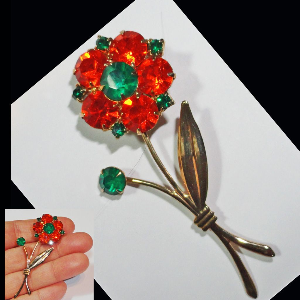 Orange and Green Rhinestone Long Stem Flower Brooch