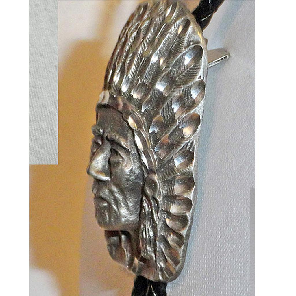 Pewter Indian Chief Bolo Tie with Dangling Arrow Tips