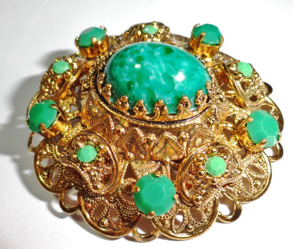 Peking Glass Open Filigree Brooch with Faux Jadeite Chaton Rhinestones