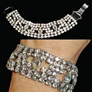 Rhinestone Crystal Teardrop Chaton Bracelet Wide One Inch