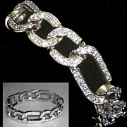 Sterling Silver Rhinestone Cubic Zirconia Link Bracelet  Signed GM  8""