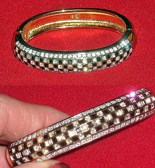 Swarovski Black White Square Crystal Checkerboard Clamper Bracelet  Signed