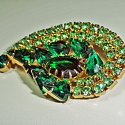 Shades of Green Pear Cut Rhinestone Two Tone Brooch  Big Bold & Beautiful