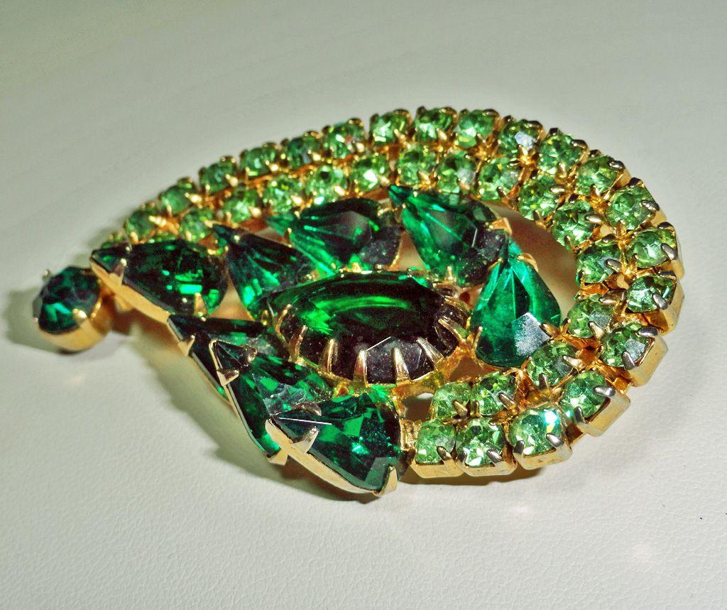 Shades of Green Pear Cut Rhinestone Two Tone Brooch  Big Bold & Beautiful