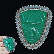 Sterling Silver Aztec Carved Green Glass Face Brooch Pendant