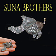 Suna Brothers Sterling Silver and 18k Gold Fish Blowing Bubbles Brooch