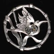 Sadie Green Egret Bird Rhinestone Brooch