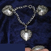 Art Nouveau Sterling Silver Puffed Heart Charm Bracelet for Petit Wrist