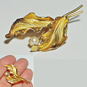 Sculpted Leaf with Cultured Pearl Brooch by Reis