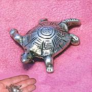 Antique Sterling Silver Figural Turtle Brooch