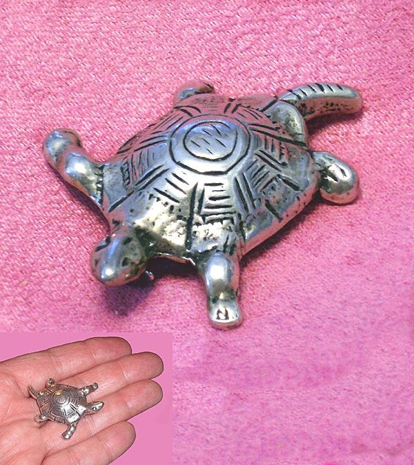 Antique Sterling Silver Figural Turtle Brooch