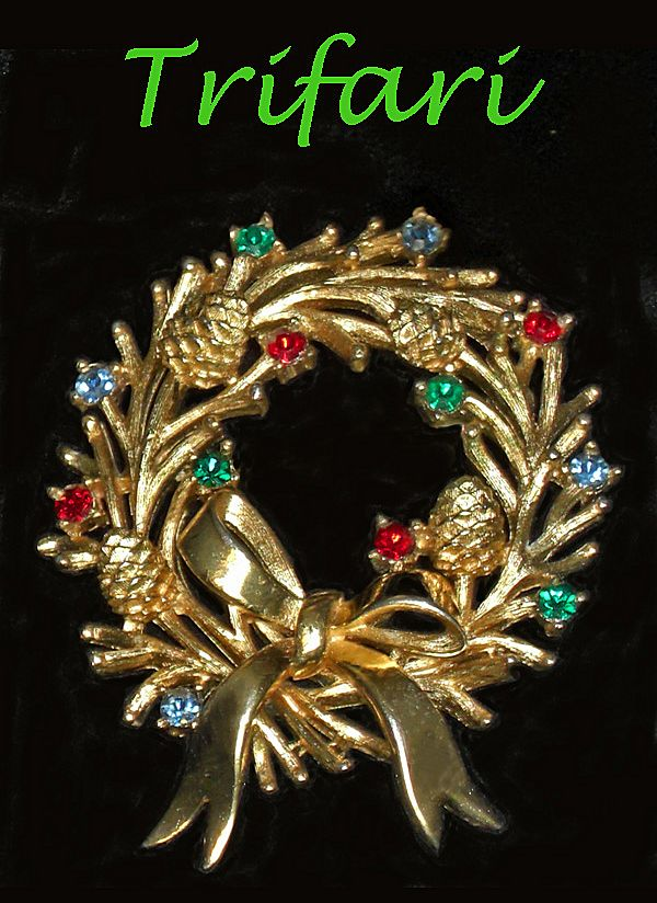 Trifari Crown Rhinestone Wreath Brooch