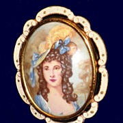 Art Deco Thomas L Mott Enamel Portrait Brooch Pendant Made in England C1930