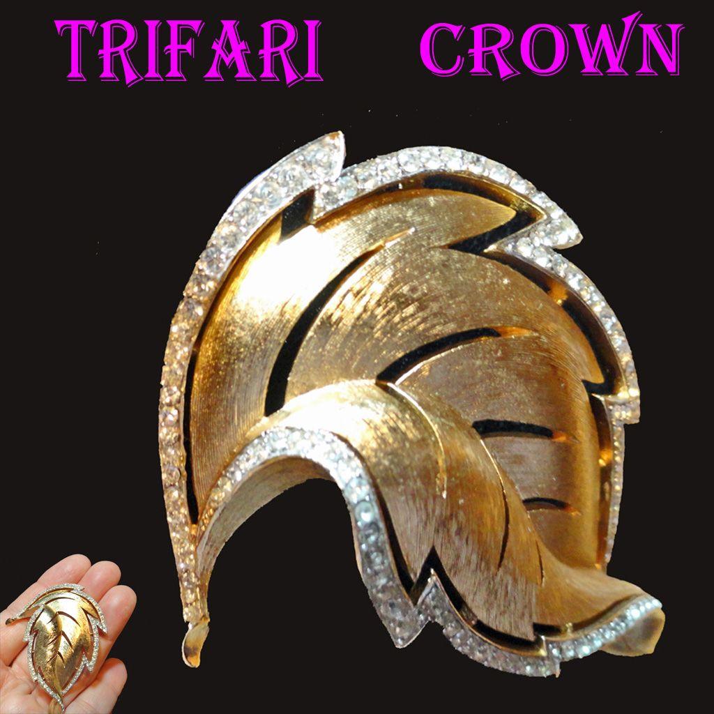 Trifari Crown Pave Rhinestone Trimmed Leaf Brooch